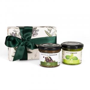 Pesto genovese e paté di olive in scatola regalo - Liguria Tasting