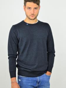Pure Nature - Maglione uomo in lana biologica 100% naturale blu indaco