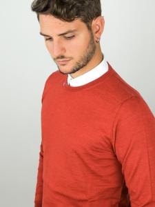 Pure Nature - Maglione uomo in lana biologica 100% naturale red robbia