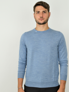Pure Nature - Maglione uomo in lana biologica 100% naturale light indaco