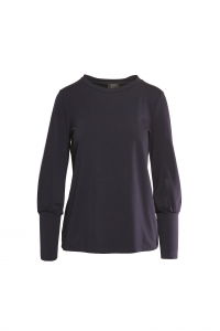 Maglia in jersey maniche lunghe con polsino alto-BLU NOTTE