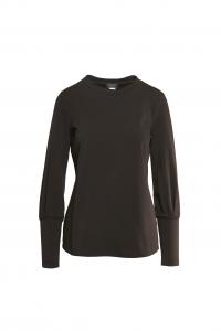 Maglia in jersey maniche lunghe con polsino alto-NERO