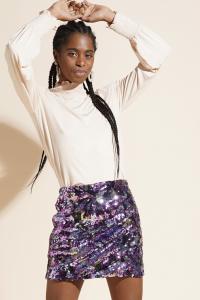 Asebia - Minigonna in paillettes viola