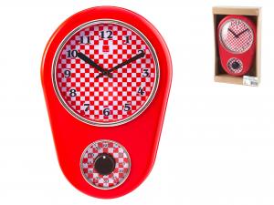Orologio Con Timer Contaminuti, 31x21 Cm, Rosso