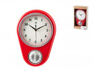 Orologio Con Timer Contaminuti, 22x16 Cm, Rosso