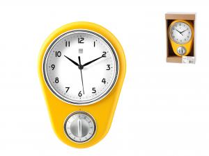 Orologio Con Timer Contaminuti, 22x16cm, Giallo