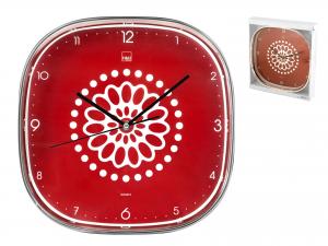 H&h Orologio Parete Quadrato Decoro Ellen Rosso 30 Cm