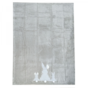 Plaid in pile 140x180 DAUNEX BUNNY grigio ricamato coperta in scatola