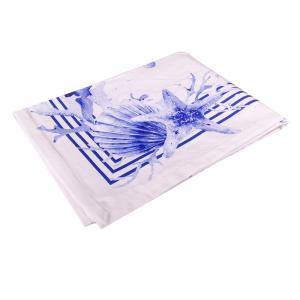 Tovaglia rettangolare x6 o x12 persone puro cotone Saint Tropez bluette